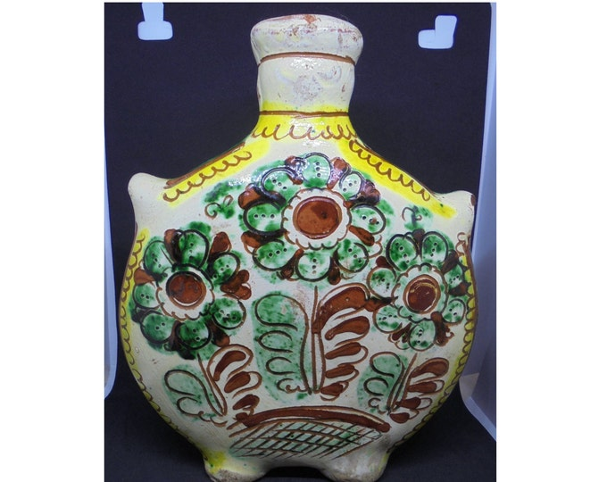 Ceramic Flask, Hucul Flask, Folk Vase, Folk Ceramic Flask, Clay Pitcher, Handpainted Vase