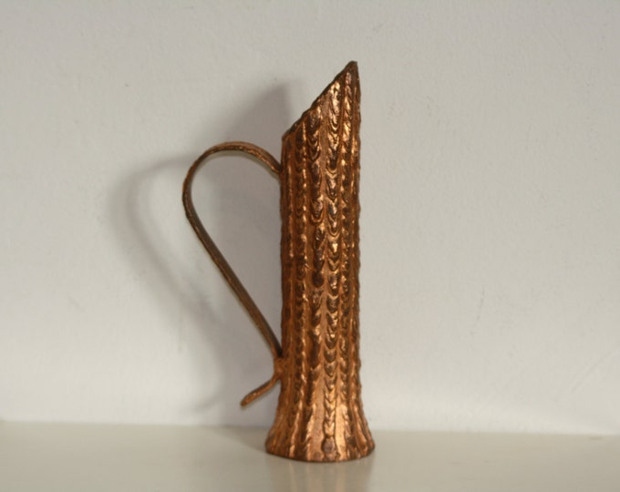 Brass glazed Candleholder, Iron Candleholder, Iron Jug, With Bronze, Copper Shielding, Cupric Coating, Ore Vase With Ear
