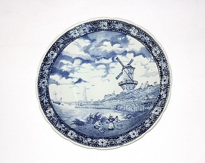 "Delft Plate, Delft Windmill, Delft Wall Hanging, Delft Windmill, Boch Belgium,  Sphinx Maastricht 15-1/2"" Plate Charger Holland Boch Belgium"