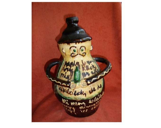 Ceramic Flask, Antique Flask, Hungarian Pottery, Huge Flask, Folk Ceramic, Statue Flask