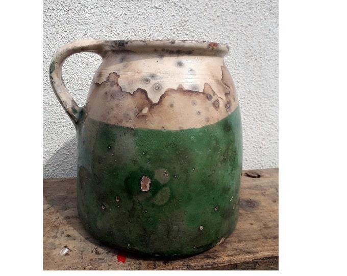 Folk Pitcher, Antique Ewer, Ceramic Pitcher, Ceramic Potter, Honey Jar
