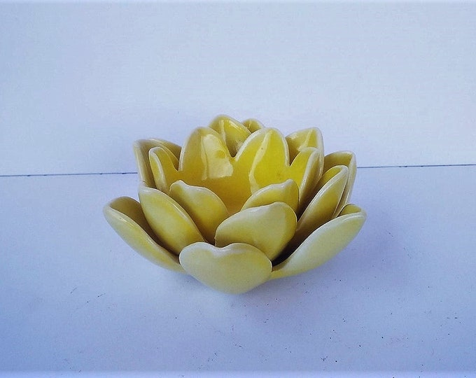 Yellow Candleholder, Ceramic Candleholder, Small Candleholder, Decorative Candleholder