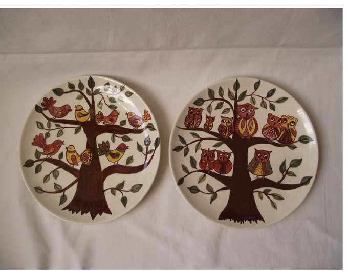 Owl Plate, Ceramic Plate, Owl Theme Plate, Vintage Plate, Folk Plate