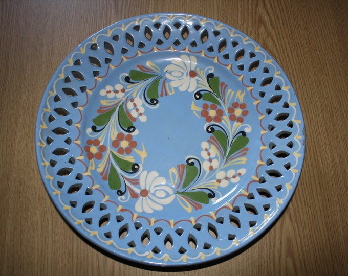 Blue Plate, Blue Plate with Flower, Handpainted wall plate, Light Blue Wall Hanging, Kitchen Decoration, Rare Wall Hanging Plate