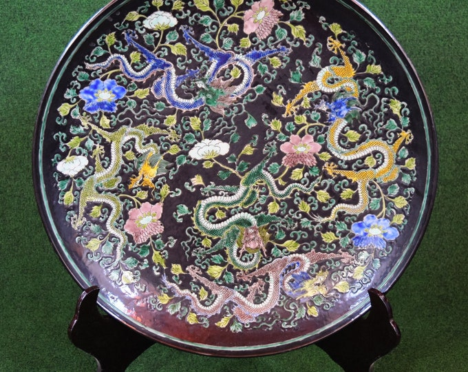 Huge Chinese Plate, Wall Plate, Dragon Plate