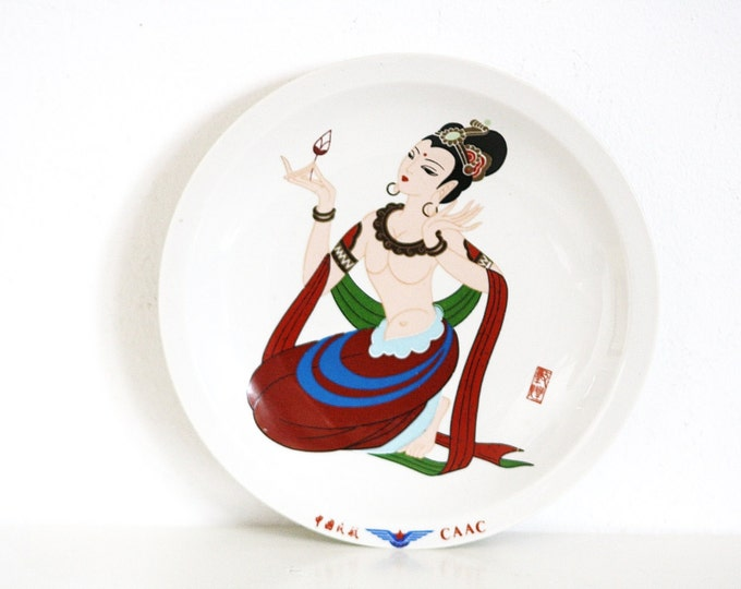 Chinese Plate, China Plate, Civil Aviation Administration of China, CAAC China Plate, Modern China, Girl on Plate China,