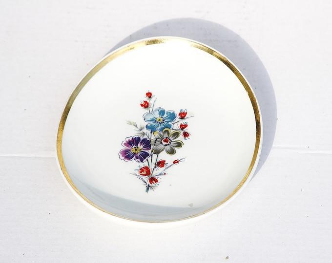 White Ashtray, Flower Ashtray, Golden Ashtray, Decorative Ashtray, Hungary Ashtray, Hollohaza Ashtray, White Plate, Flower Plate