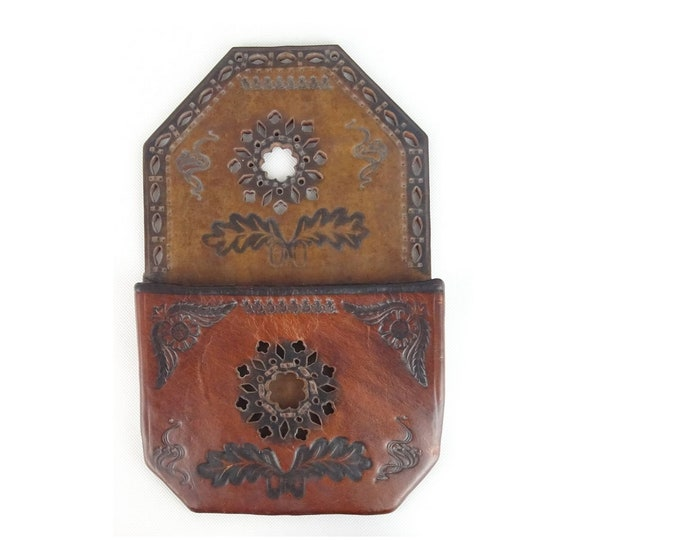 Leather Wall Decor, Leather Paper Holder, Folk Leather