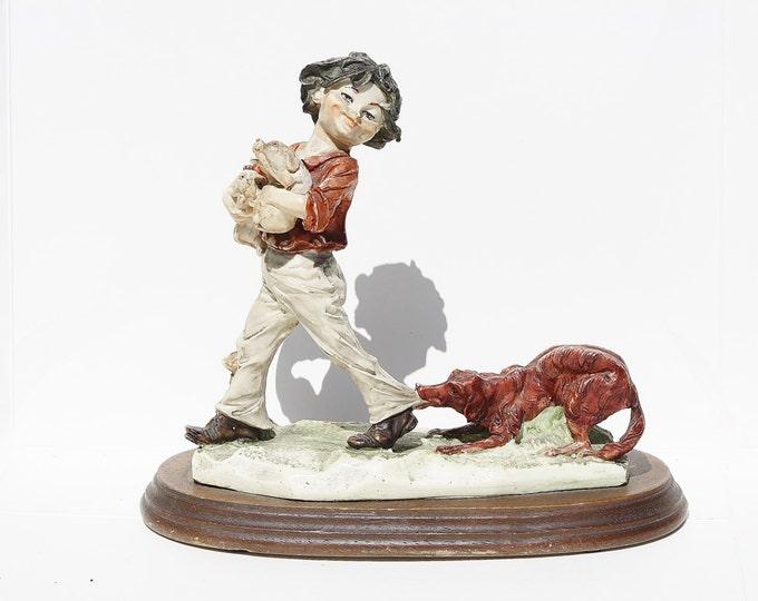 Wood Base Figurine, Dog Figurine, Child with Dog, Fireplace Figurine, Statue, Wood Base Dog, Ceramic Figurine, Ceramic Statue