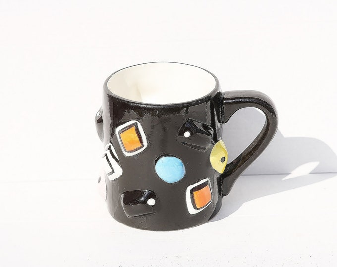 Black Mug, Haribo Mug, Black Porcelain Mug, Ceramic Mug, Haribo Ceramic, Sweet Mug, Cocoa Mug, Relief Mug