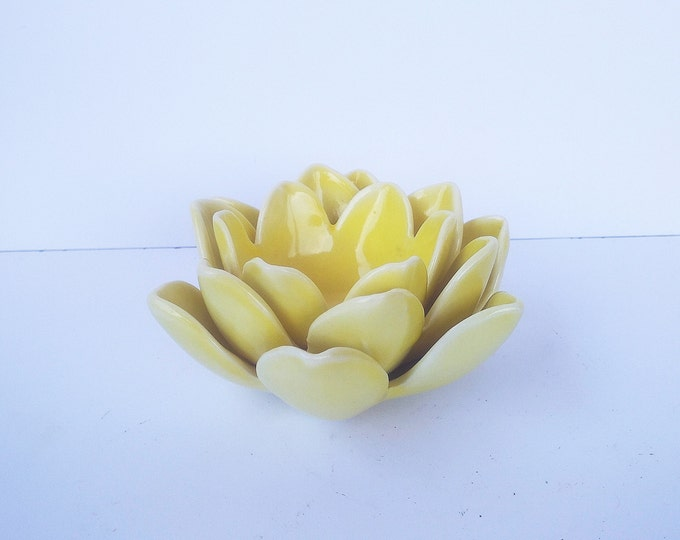 Yellow Candleholder, Ceramic Candleholder, Small Candleholder, Decorative Candleholder
