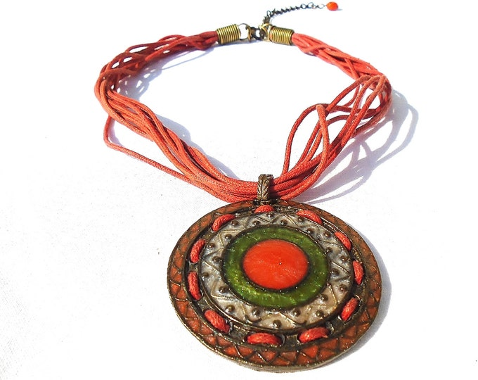 Enameled Necklace, Cloisonne Necklace, Cloisonne Medal, Brass Medal, Cloisonne Jewelry, Enamel Jewelry