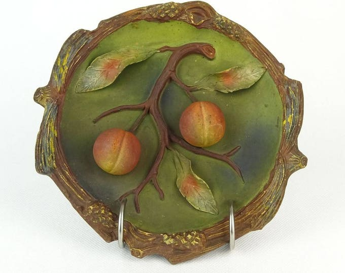 Terracotta Plate, Wall Plate, Relief Peach Plate, Dimensional Plate