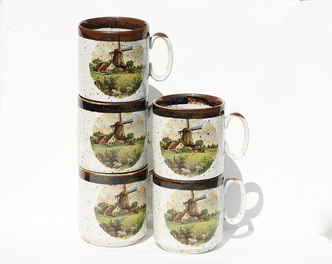 Windmill Mug, Hand Painted Mug, Hand Decorated Mug, Royal Schwabap Mug, Holland Mug, Coffee Mug, Coffee Cup, Windmill Scene Mug