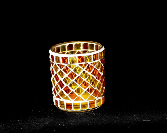Candle Glass, Mosaic Glass, Candle Holder, Mosaic Glass Candle