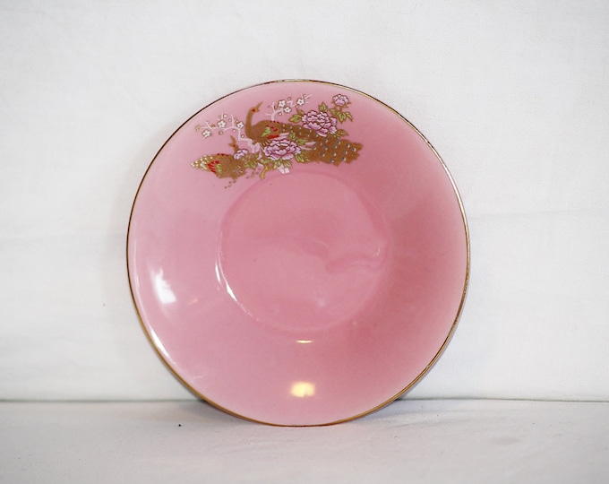 Pink Plate, Japan Plate, Yamato Porcelain, Pink Yamato Plate, Pink Plate, Gold Peacock, Yamato Peacock