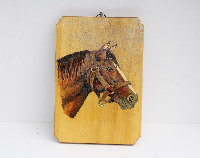 Horse Picture, Wood Picture, Horse Painting, Wood Painting, Horse Wall Picture, Wall Hanging Horse Picture