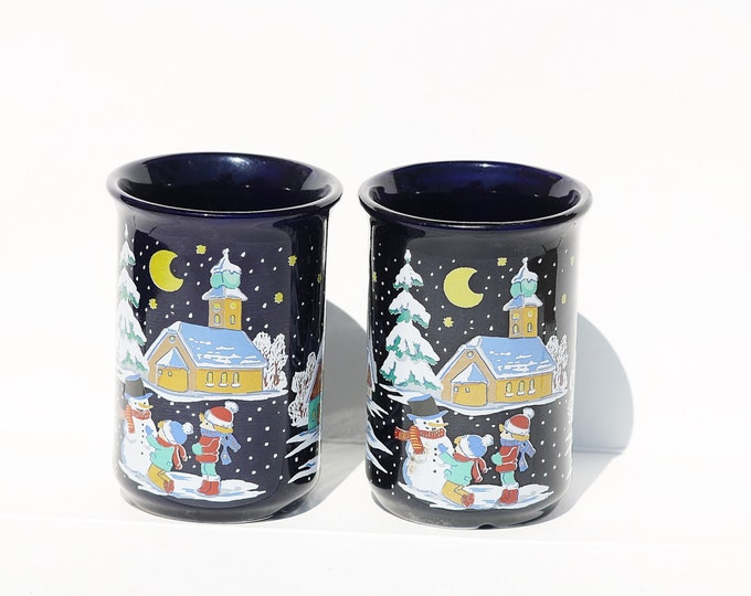 Christmas Mug, Blue Mug, Coffee Mug, Cocoa Mug, Scene Mug, Snowman Mug, Snowfall Mug, Xmas Mug, Santa Claus Mug