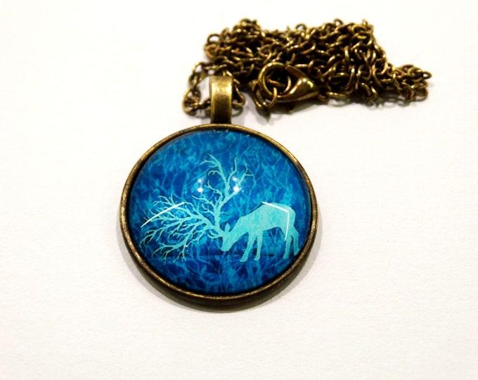 Blue Necklace, Deer Necklace, Glass Medal, Folk Medal, Deer Paint Jewelry