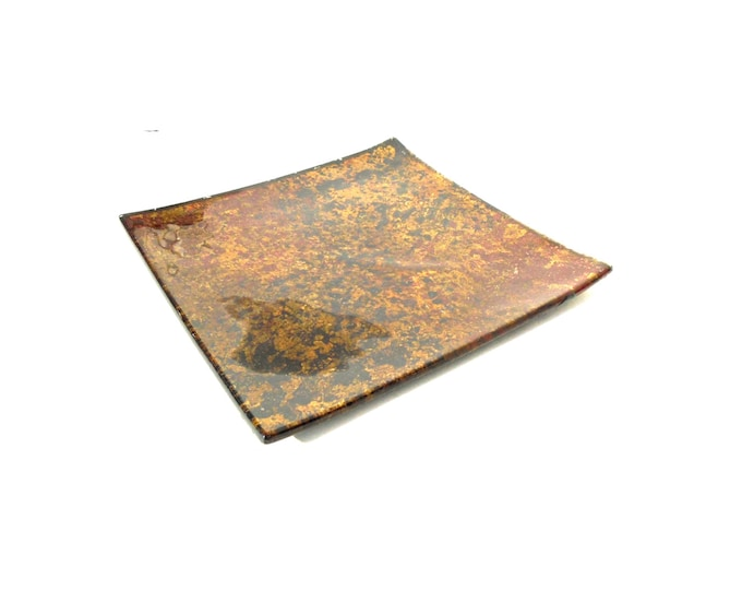 Glass Plate, Glass Candle Plate, Decorative Gold Brown Plate, Glass Plate