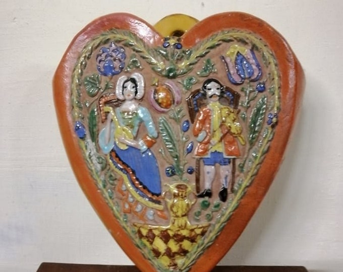 Folk Heart, Ceramic Heart, Colored Heart, Ceramic Vase