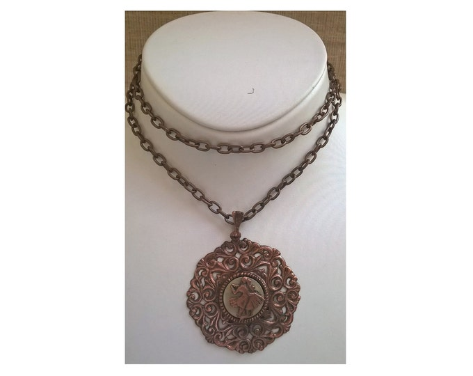 Bronze Necklace, Antique Necklace, Bronze Medal, Folk Medal, Dancing Jewelry
