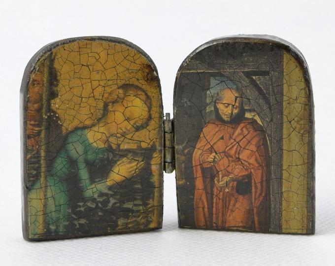 Miniature Diptych Art Panel Traveling Icon Madonna