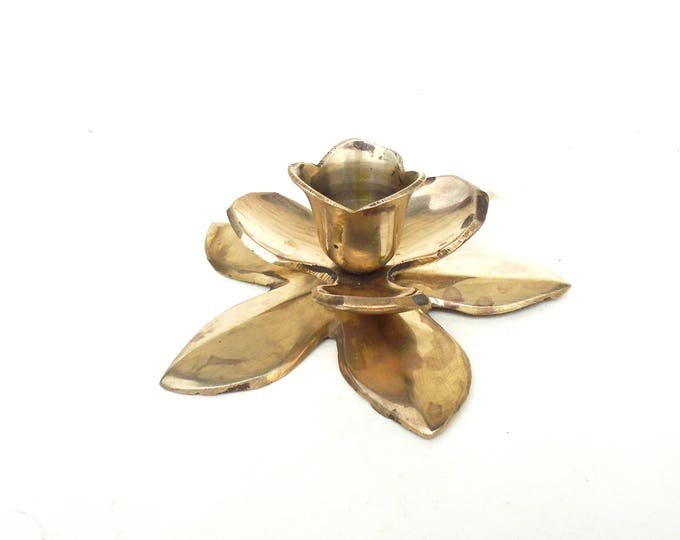 Brass Candleholder, Flower Candleholder, Solid Brass Candle Holder