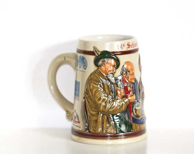 Beer Mug, Ceramarte Beer Mug, Ceramarte Brazil Collectible Mug, Beer Mug Tavern Scene, Rare Ceramarte Stein, Budweiser Mug Brazil