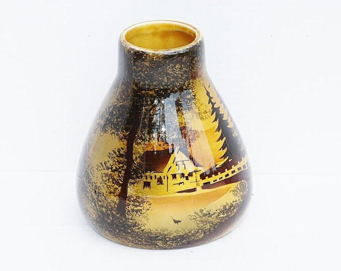 Enameled Vase, Glazed Vase, Scene Vase, Yellow Vase, Yellow Enameled Vase, German Vase