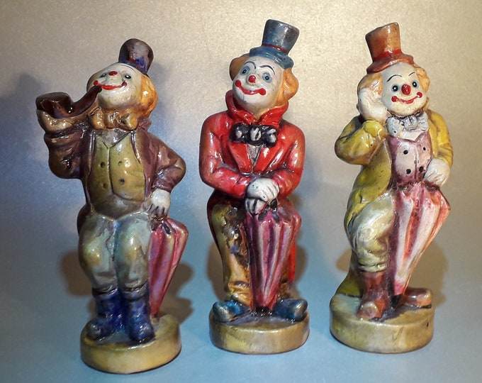 Ceramic Clown, 3 pieces, Ceramic Figurine
