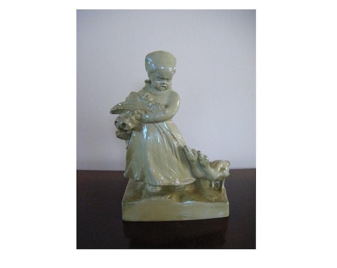 Zsolnay art nouveau, Zsolnay Child, Zsolnay porcelain, 1918, 21 cm, Round stamped