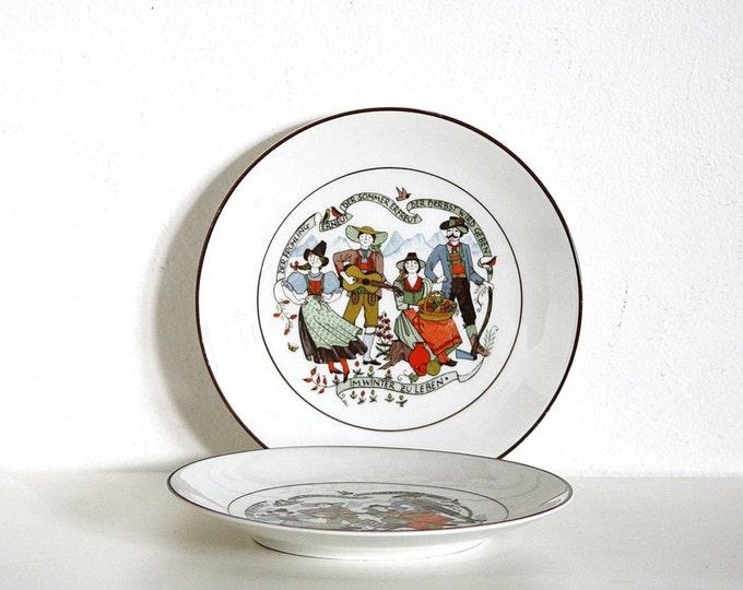 German Folk Plate, Folk Pattern Plate, Jahreszeiten, Altenkunstadt, Susanne Dolker Design, Coffee Plate, 2 plates