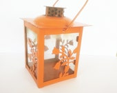 Small Candle Lamp, Hand Lamp, Candle Lantern, Orange Lantern