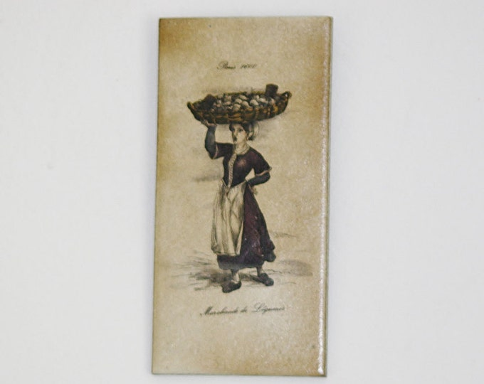 Job Tile, Wall Hanging Tile, Vintage Bareuther Metiers du Vieux Paris Hanging Tile