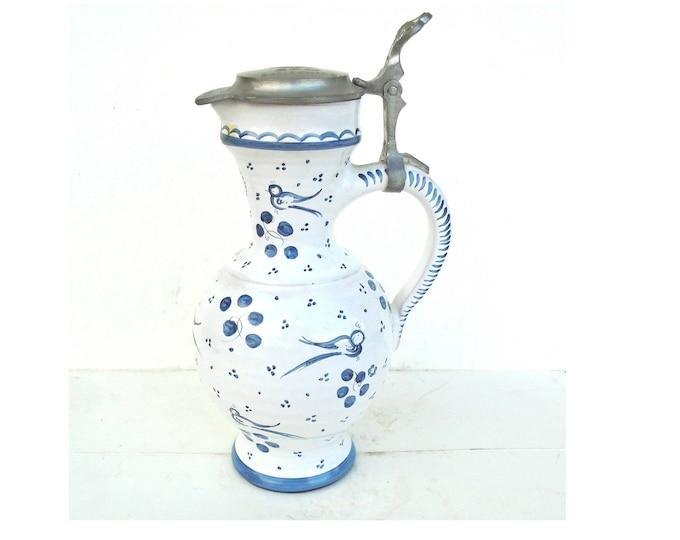 Blue and White Stein, Mosaic Stein, Bavarian Stein, Relief Lid Stein, Pewter Lid Stein