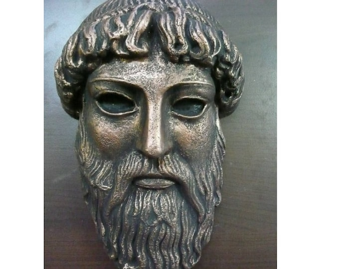 Zeus Mask, Greece Theatre Mask, Bronzed Mask, Marble Bronzed Mask