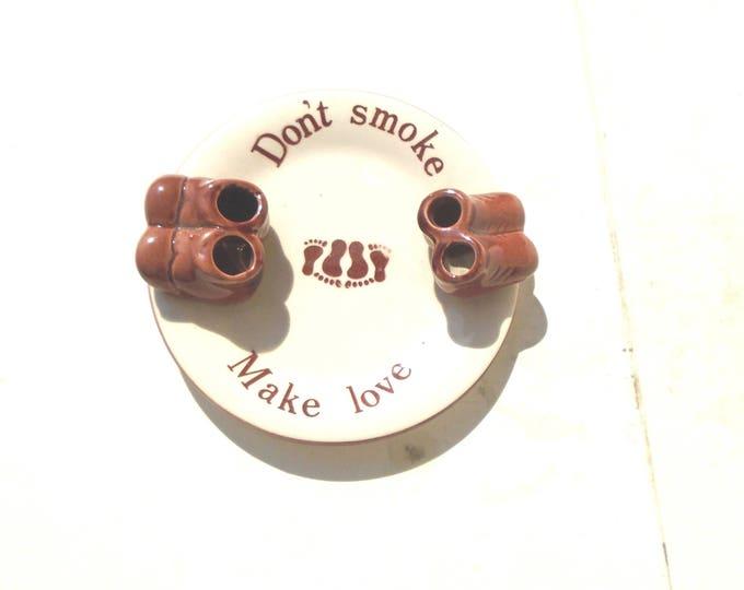 Shoe Ashtray, Handpainted Brown Ashtray,Don't Smoke Make Love, Cute Ashtray, Brown Porcelain