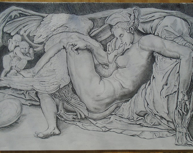 Michelangelo Drawing, Leda and Swan Pencil Drawing, A3 paper size, Graphite Drawing