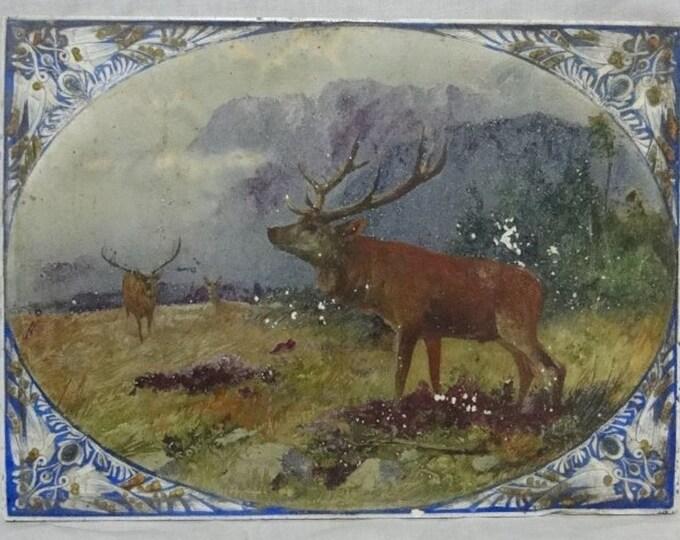 Antique Tile, Deer Tile, German Tile, Huge Tile