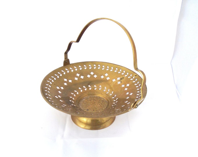 Brass Bowl, Brass Server, Handled Brass Server