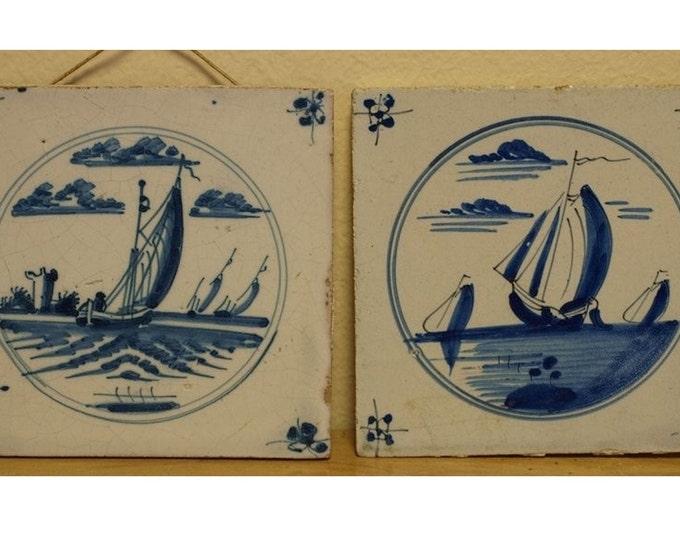 Antique Tile, Blue and White, Dutch Tile, Delft Tile,
