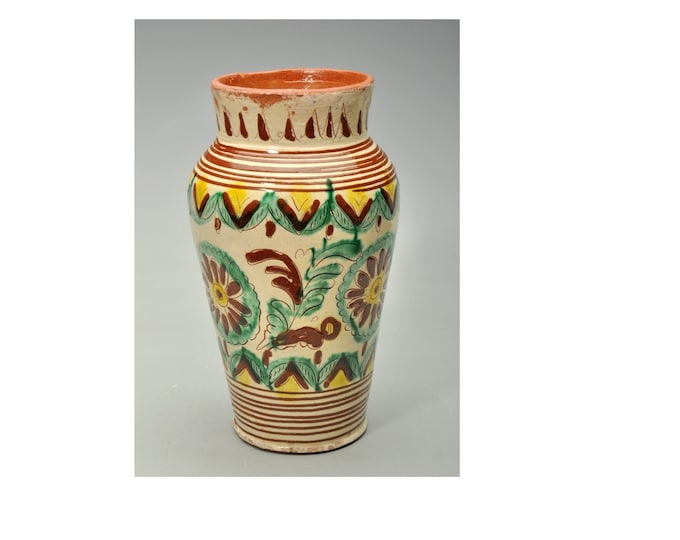 Ceramic Vase, Hucul Vase, Folk Vase, Folk Ceramic Pitcher, Clay Pitcher, Handpainted Heavy Vase
