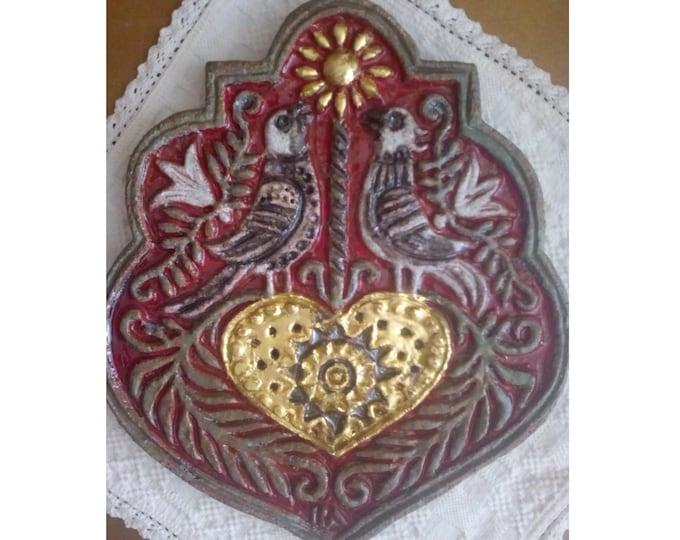 Folk Coat of Arms, Ceramic Placque, Colored Armory, Ceramic Crest
