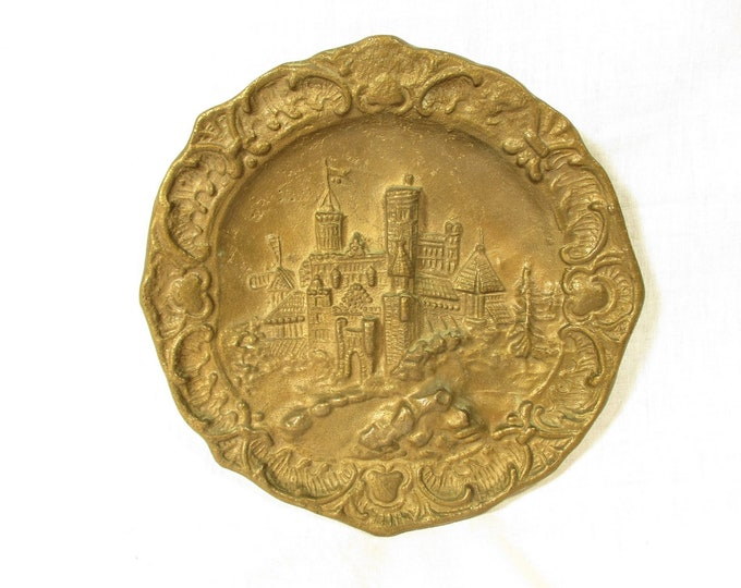 Solid Brass Plate, Vintage Wall Plaque, Rustic Bronze Wall Decor, Folk Scene Wall Plate