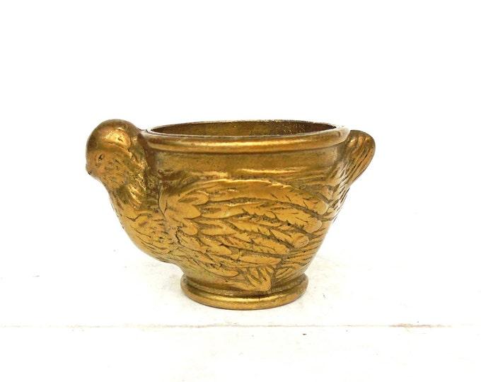 Brass Pot, Miniature Brass Pitcher, Solid Brass Pot, Chicken Brass Vase, Heavy Brass, Paperweight Brass