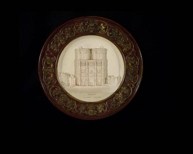 Johann Maresch Plate, Johann Maresch Huge Plate, Terracotta Plate, Notre Dame Relief Plate