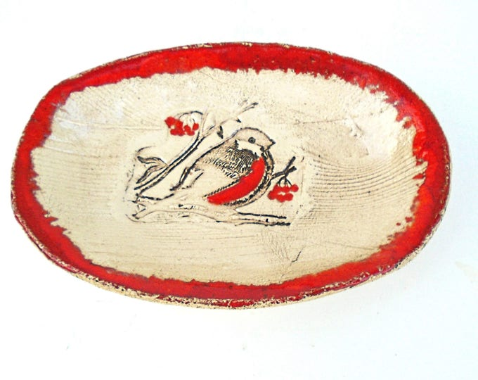 Bird Server Plate, Fruit Plate, Red and White Plate, Bird Plate, Figural Plate, Clay Plate