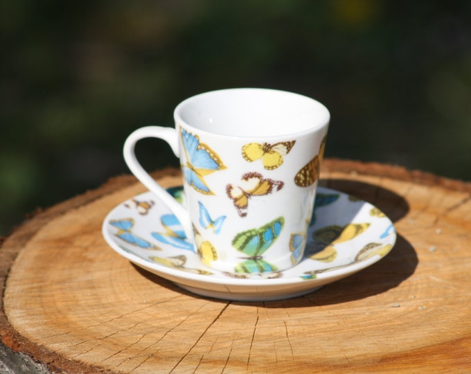 Royal England Tea Cup, Tea Cup, Butterfly Tea Cup, Colored Tea Cup, Butterfly Coffee Cup, Decorative Cup and Plate