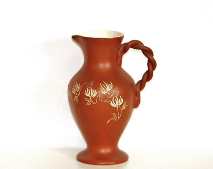 Brown Pitcher, Folk Pitcher, Wicker Eared Jug, Porcelain Braided Jug -Eared Vintage Porcelain Pitcher, Antique Style, Vintage Garniture